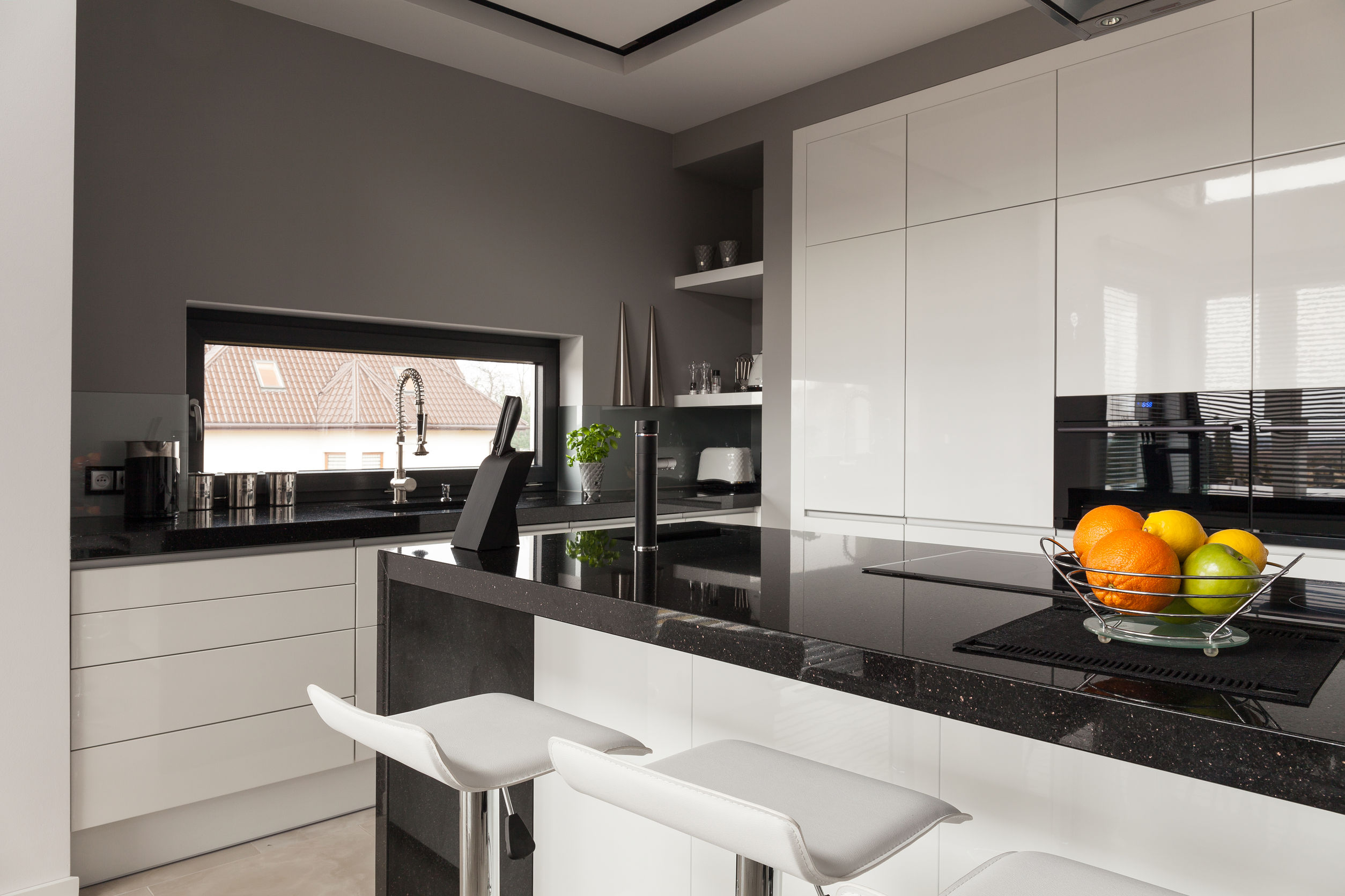 38554716 - picture of black and white kitchen design
